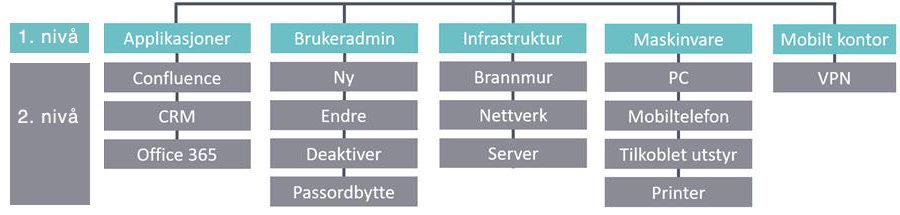 eksempel kategorier IT-avdeling